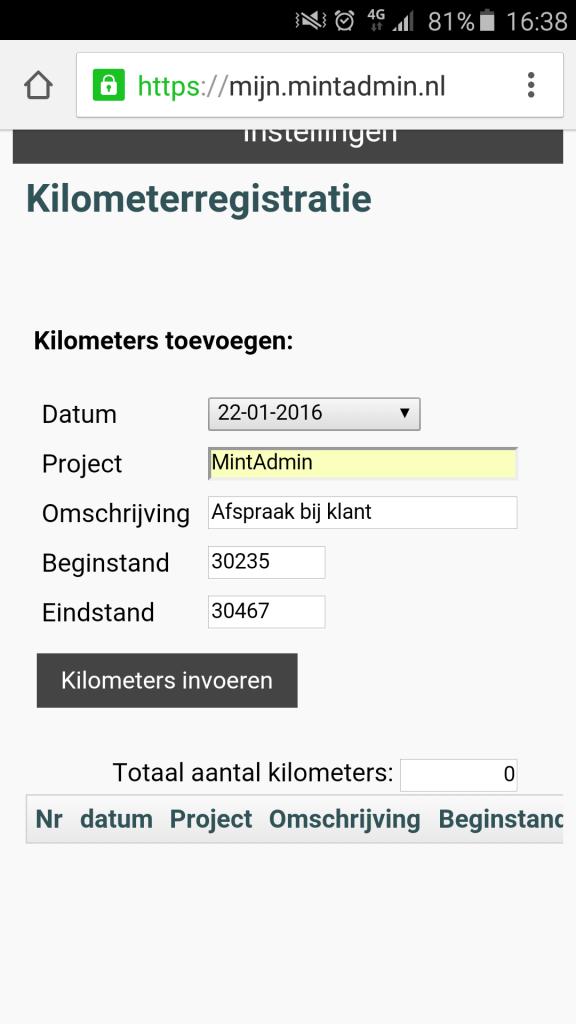 kilometerregistratie mobiel
